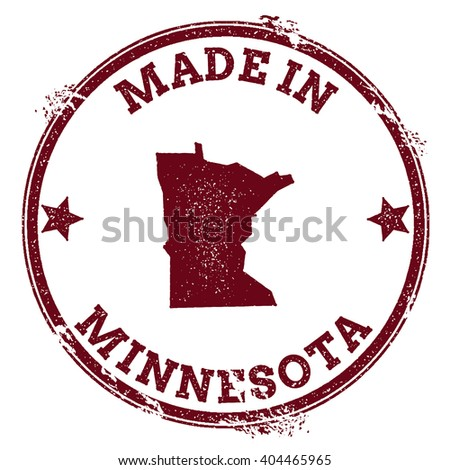 Minnesota vector seal. Vintage USA state map stamp. Grunge rubber stamp with Made in Minnesota text and USA state map, vector illustration. - stock vector