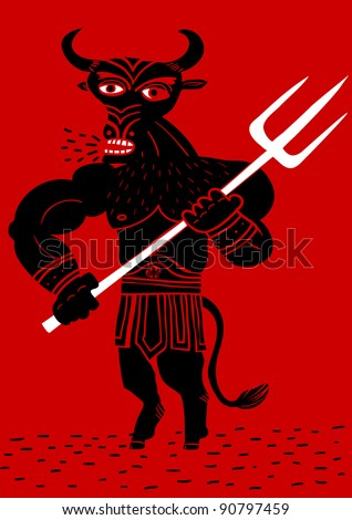 minotaur with fork - stock vector