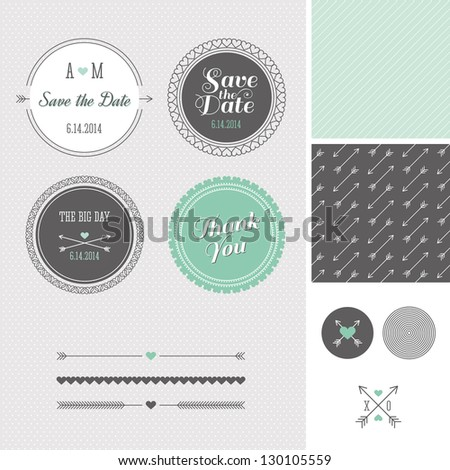 Mint + Gray Save the Date Wedding Graphic Set 2 - stock vector