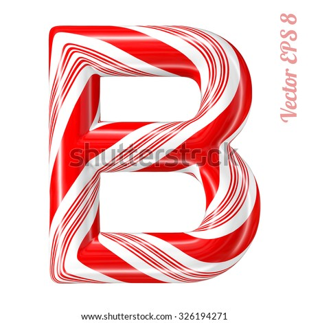 Mint hard candy cane vector alphabet collection striped in Christmas colours. Letter B. Eps 8 using mesh. - stock vector