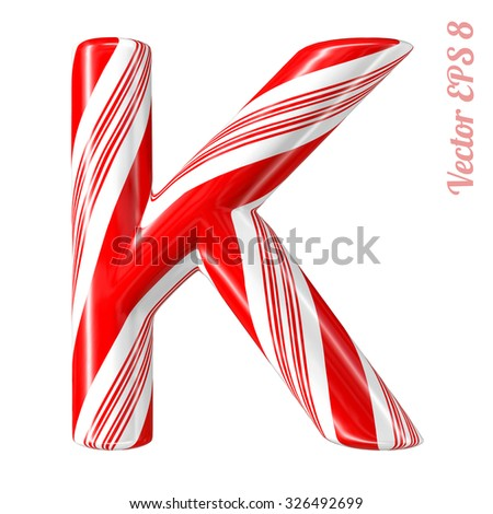 Mint hard candy cane vector alphabet collection striped in Christmas colours. Letter K. Eps 8 using mesh. - stock vector