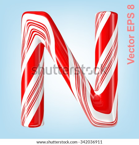 Mint hard candy cane vector alphabet collection striped in Christmas colours. Letter N. Eps 8 using mesh. - stock vector