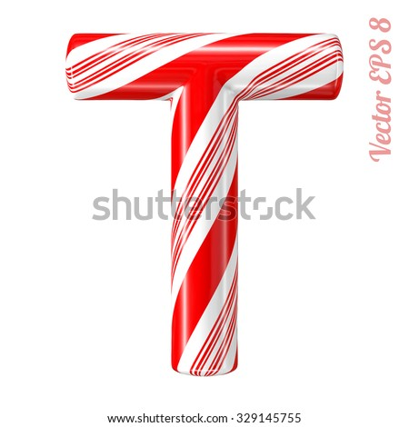 Mint hard candy cane vector alphabet collection striped in Christmas colours. Letter T. Eps 8 using mesh. - stock vector