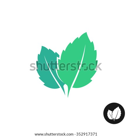 Mint leaves vector logo. Two leaves of a mint with one color black version. - stock vector