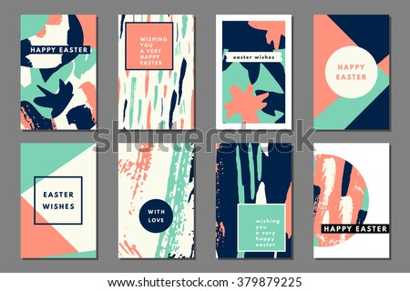Mint peach pastel set of printable journaling cards, creative cards, art prints, hand drawn grunge texture, minimal label design for banner, poster, flyer. Happy Easter greeting cards - stock vector