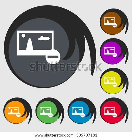 Minus File JPG sign icon. Download image file symbol. Set colourful buttons. Symbols on eight colored buttons. Vector illustration - stock vector