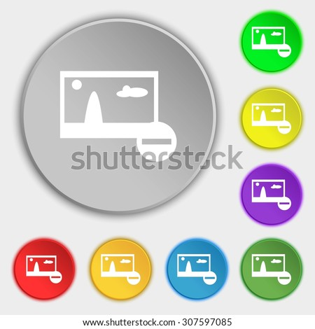 Minus File JPG sign icon. Download image file symbol. Set colourful buttons. Symbols on eight flat buttons. Vector illustration - stock vector