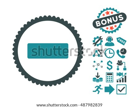 Minus icon with bonus design elements. Vector illustration style is flat iconic bicolor symbols, soft blue colors, white background.