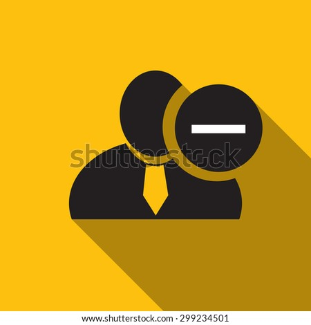 Minus sign black man silhouette icon on the yellow background, long shadow flat design icon for forums or web - stock vector