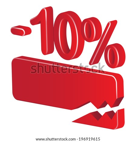 Minus ten per cent (red) on a white background - stock vector