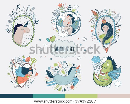 Miracle cute collection unicorn, princess, dragon, rainbow, fairy wings. Dream illustration. Fairytale card, sweet children, greeting birthday kids, good wishes. isolated  on white.   - stock vector