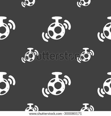 mirror ball disco icon sign. Seamless pattern on a gray background. Vector illustration - stock vector