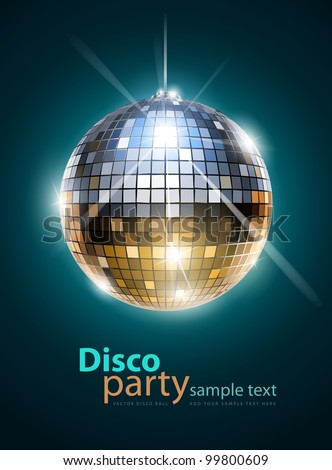 mirror disco ball vector illustration EPS10. Transparent objects and opacity masks used for shadows and lights drawing - stock vector