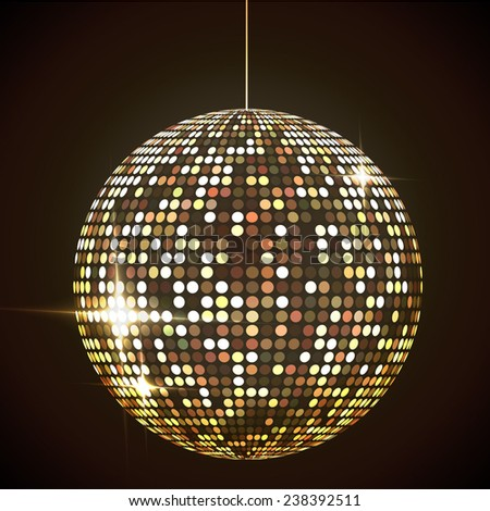 Mirror disco ball vector illustration. Glamorous sphere. Glowing design element. Sphere object.