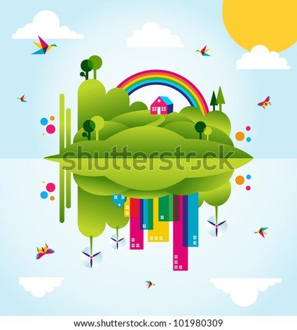 Mirror go green city in spring time. Industry sustainable development with environmental conservation background illustration. Vector file layered for easy manipulation and custom coloring. - stock vector