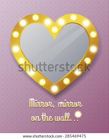 Mirror in shape of heart on wall. Reflection and frame, vector illustration - stock vector