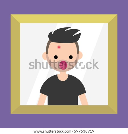 mirror reflection clipart. mirror reflection of a shocked bearded man. dermatological problems. acne / flat editable vector clipart g