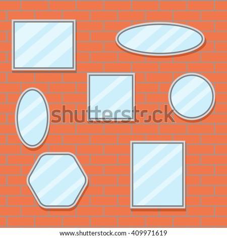 Mirror set design brick wall. Mirror frame border, mirror on wall, baroque mirror oval and mirror furniture. Vector flat design illustration - stock vector