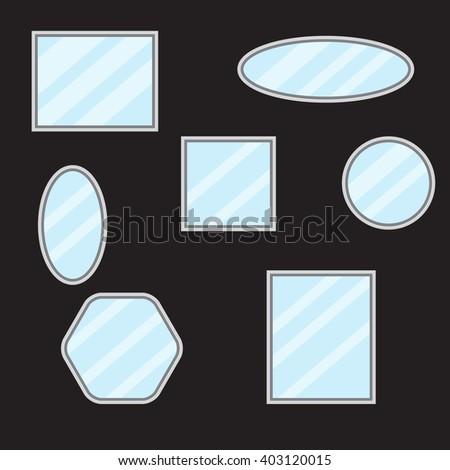 Mirror set design form. Mirror reflection and mirror frame,  bathroom mirror and wall mirror, mirror fashion and vintage border furniture. Vector flat design illustration - stock vector
