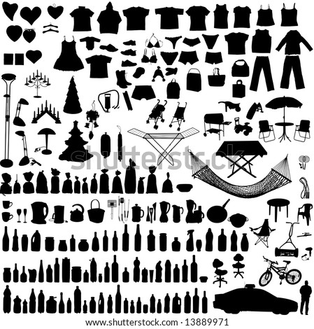 Miscellaneous household, clothes and others vector objects - stock vector