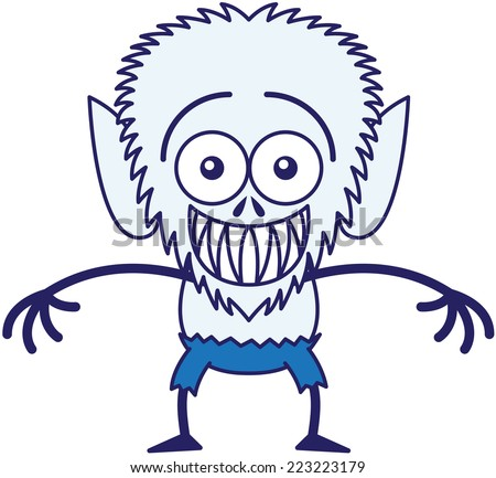 Mischievous werewolf with big head, bulging eyes, blue pants, blue fur and sharp fangs while staring at you and grinning in a very embarrassed mood - stock vector