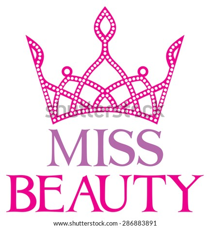 miss beauty sign with diamond tiara - stock vector