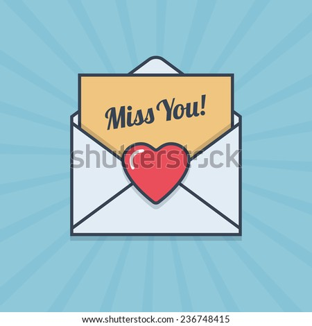 Miss You! letter with heart shape in flat style. Vector illustration. - stock vector