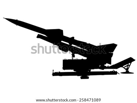 Missile anti-aircraft gun on a white background  - stock vector