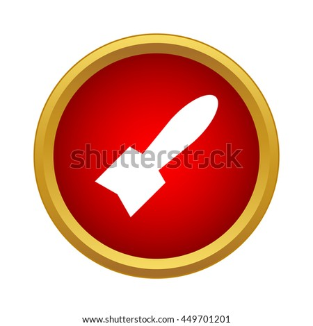 Missile icon in simple style on a white background - stock vector