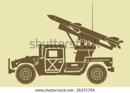 Missile Launcher Hummer - stock vector
