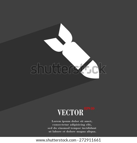 Missile,Rocket weapon  icon symbol Flat modern web design with long shadow and space for your text. Vector illustration - stock vector