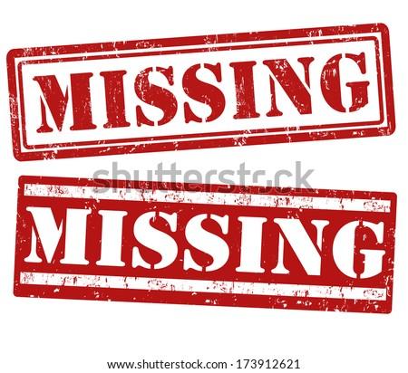 Missing grunge rubber stamps on white, vector illustration - stock vector