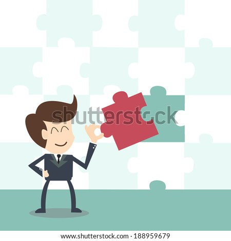 Missing jigsaw puzzle piece ,businessman completing the final puzzle piece  - stock vector
