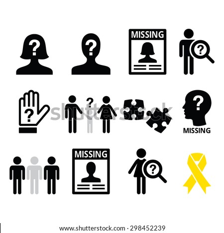 Missing people, missing child icons set - stock vector