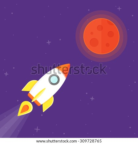 Cartoon Rocket On Space Background Vector Stock Vector ...