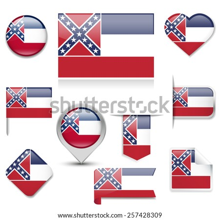 Mississippi Flag Collection - stock vector