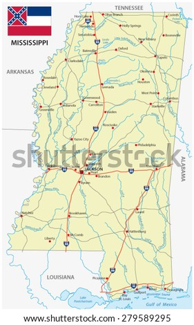 Mississippi Road Map Stock Vector Shutterstock - Mississippi highway map