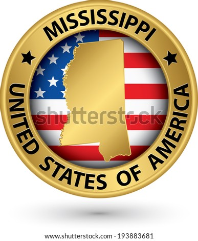 Mississippi state gold label with state map, vector illustration - stock vector