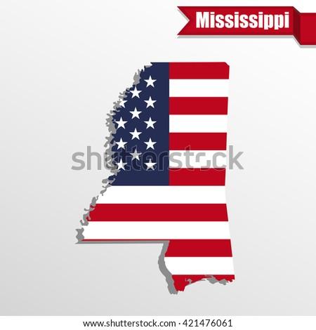 Mississippi State Map Us Flag Inside Stock Vector 421476061