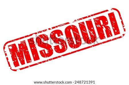Missouri red stamp text on white - stock vector