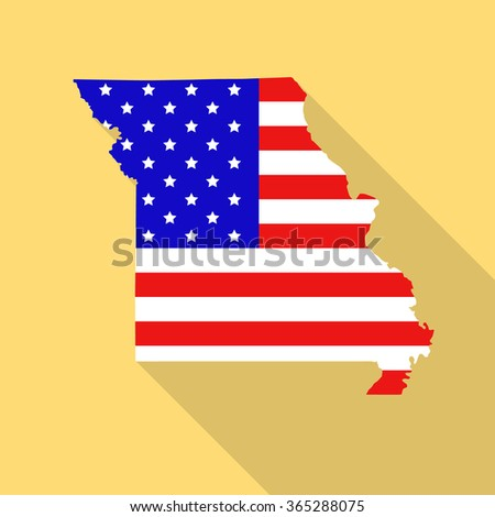 Map State Missouri American Flag Jpg Stock Illustration - Missouri state map usa
