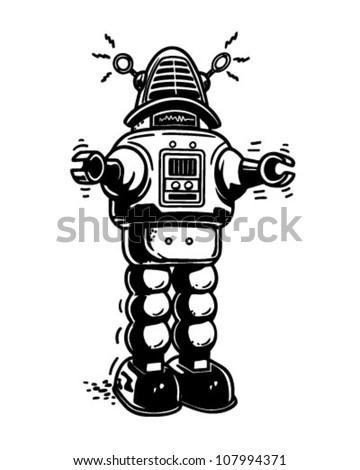 Mister Robot - Retro Clipart Illustration - stock vector