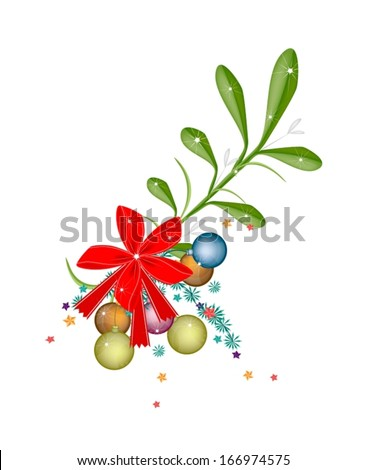 Mistletoe Bunch and Christmas Balls or Christmas Ornament with A Christmas Red Ribbon For Christmas Celebration, Isolated on White Background  - stock vector