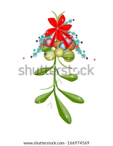 Mistletoe Bunch and Christmas Balls or Christmas Ornaments with A Christmas Red Ribbon For Christmas Celebration, Isolated on White Background  - stock vector