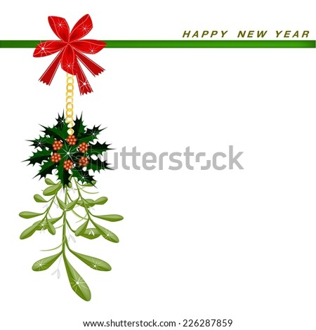 Mistletoe Bunch or Vi scum Album Decorated with Holly Leaves Hanging on A Red Bow on Greeting Card, Sign for Christmas Celebration.  - stock vector