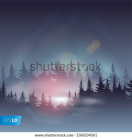 Misty coniferous forests, vector Eps10 illustration. - stock vector