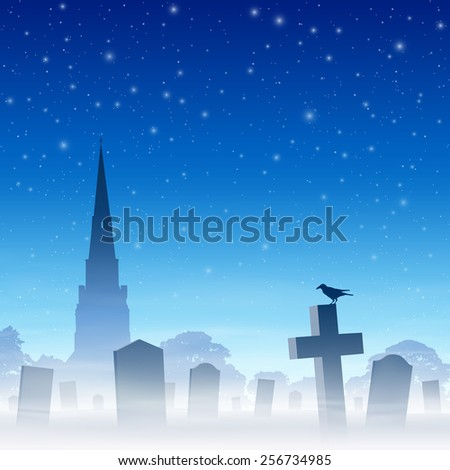 Misty Graveyard, Cemetery with Tombstones and Church Spire and Night Sky. Vector EPS 10. - stock vector