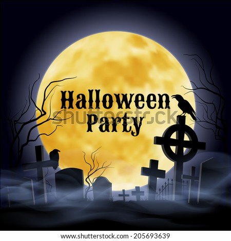 Misty graveyard with crooked  crosses and an evil  raven under full Moon. Halloween Party poster in Gothic style.   - stock vector