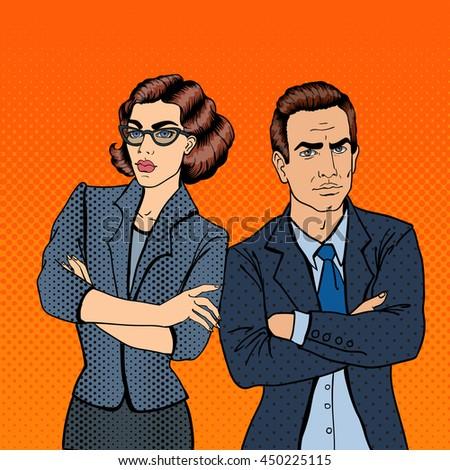 Misunderstanding at Work. Confrontation Between Businessman and Businesswoman. Pop Art. Vector illustration - stock vector