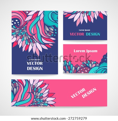 Mix collection banners and business cards - stock vector